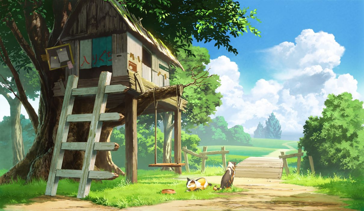 Anime landscape tree house cats clouds scenic wallpaper