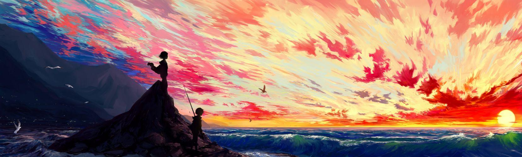 anime landscape scenic sunset illustration wallpaper