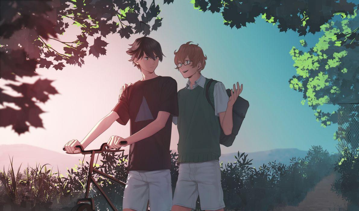 Anime Boys Friends Bicycle Walking Glasses Talking Tree Wallpaper