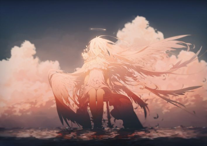 anime girl angel wings beyond the clouds white hair wallpaper