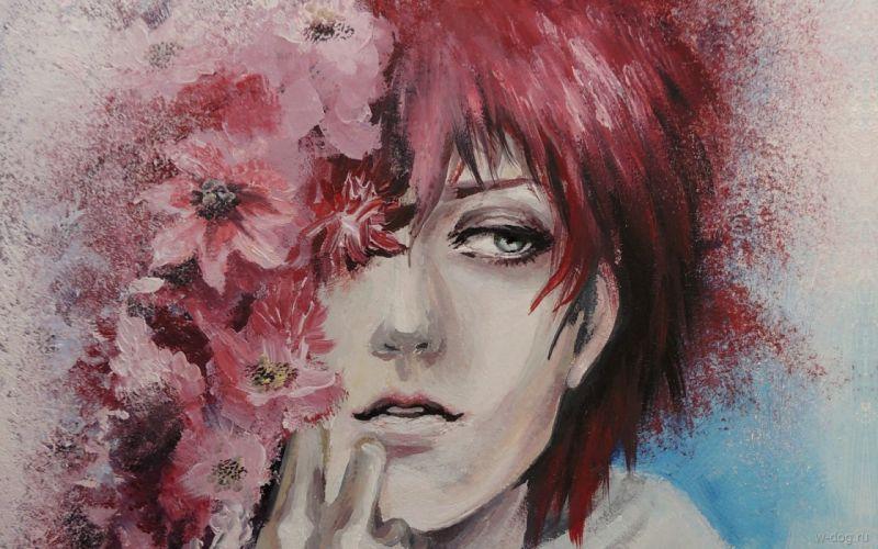 painting face original flower wallpaper