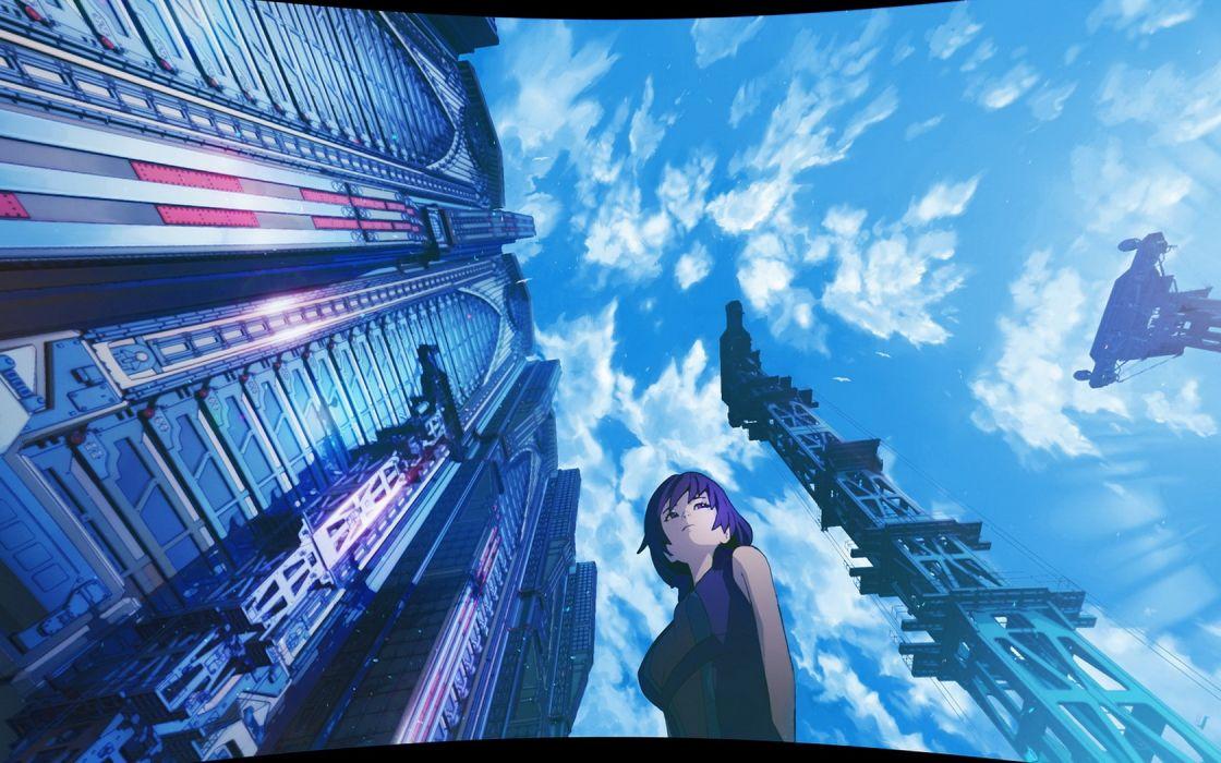 Beautiful Anime girl sky blue wallpaper