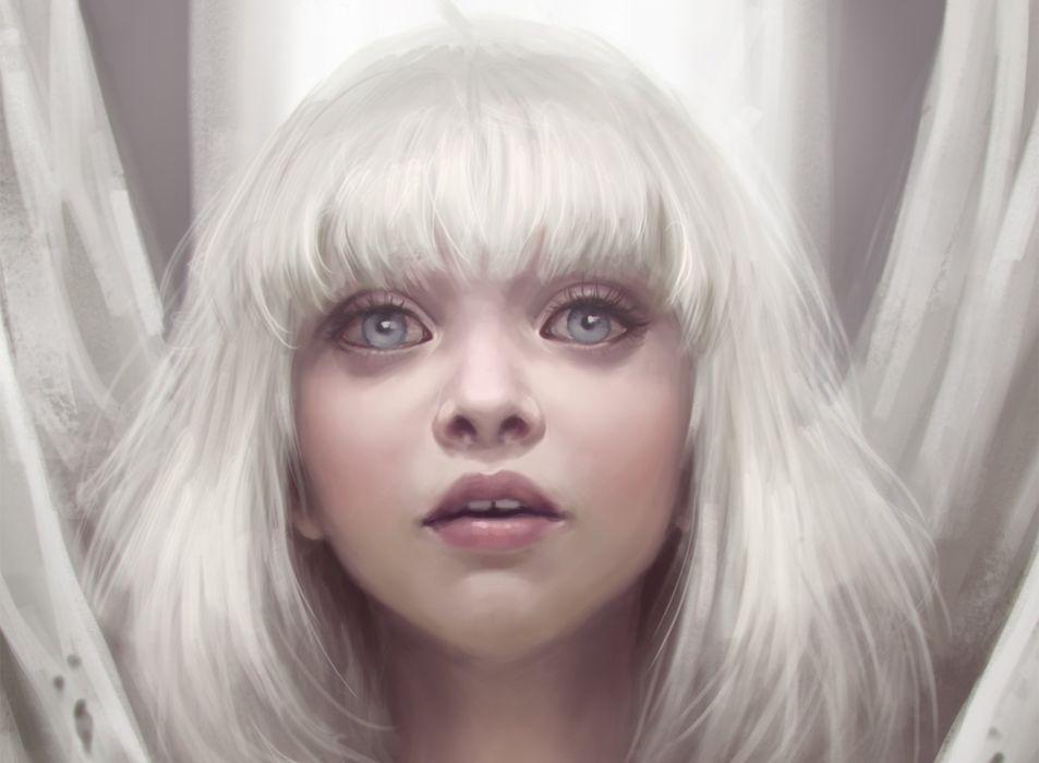 Amazing White Hair fantasy original blue hair girl wallpaper