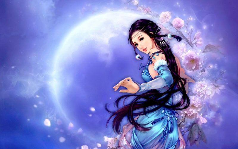 anime blue brunette flower girl moon woman wallpaper