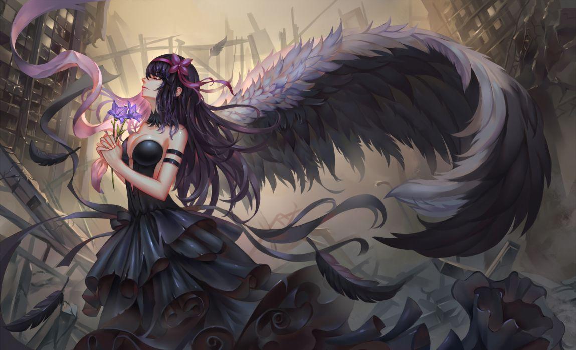 Akuma Homura wings dress girl original beautiful wallpaper