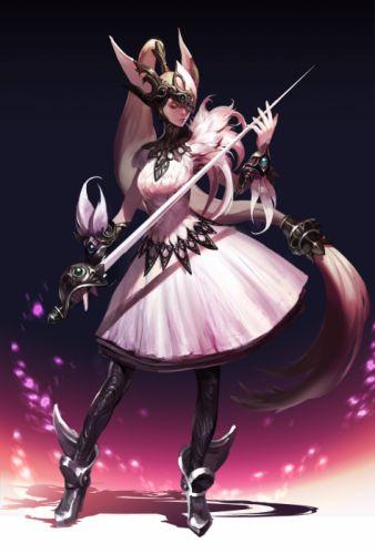 anime girl long hair sword dress wallpaper