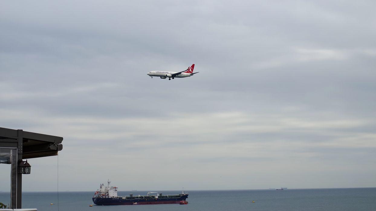 aircraft airplane clouds flight ocean sea ship sky water turkey BurakKebapci wallpaper