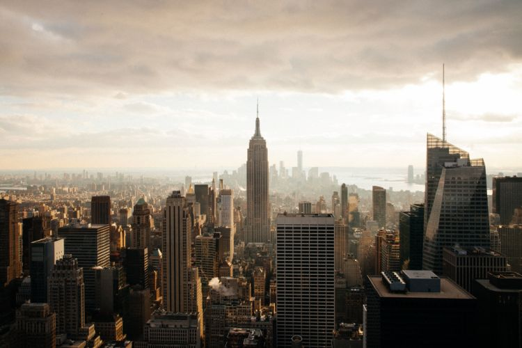 aerial buildings city cityscape downtown foggy high-rises manhattan new york skyscrapers wallpaper