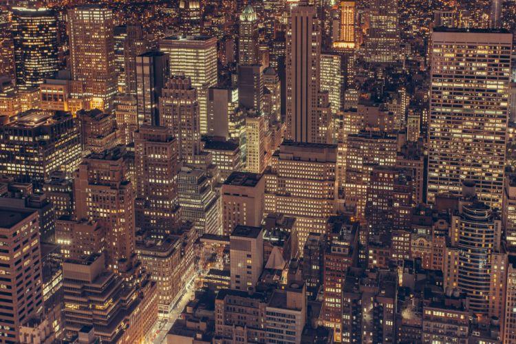 aerial buildings city high-rises lights new york night pattern skyline skyscrapers wallpaper