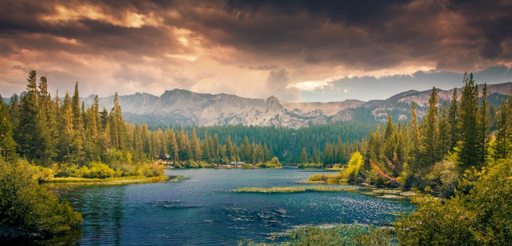 adventure clouds colorful colourful desktop backgrounds forest green idyllic lake landscape mountains nature oversaturation panorama panoramic peaceful scenery trees wallpaper