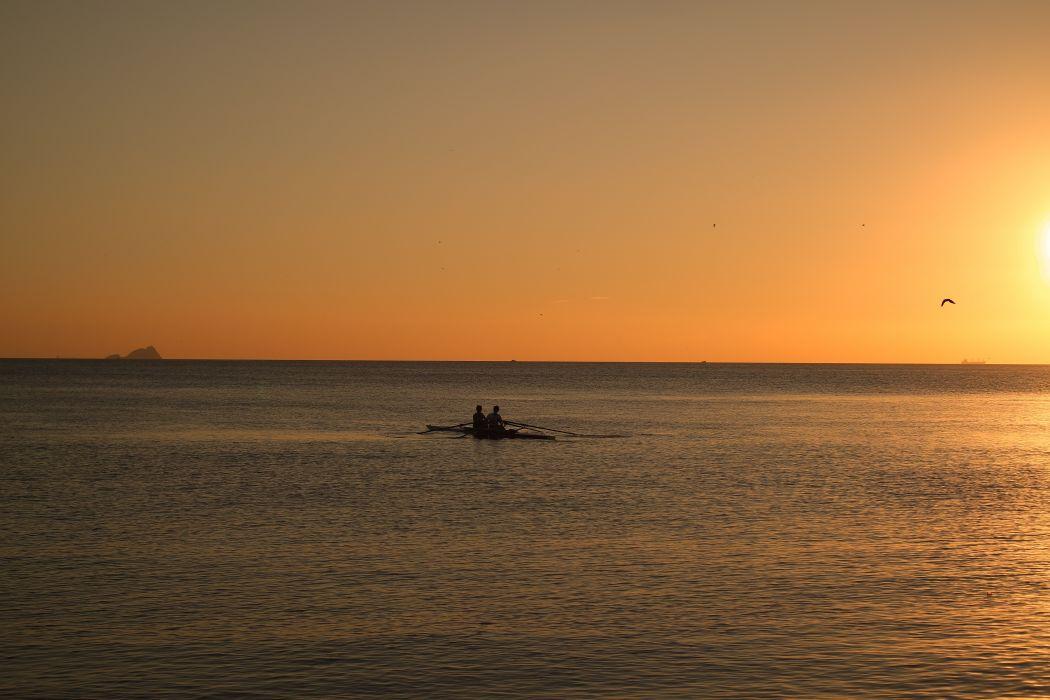 boat rowing rowing boat sea sun sunset water turkey BurakKebapci wallpaper