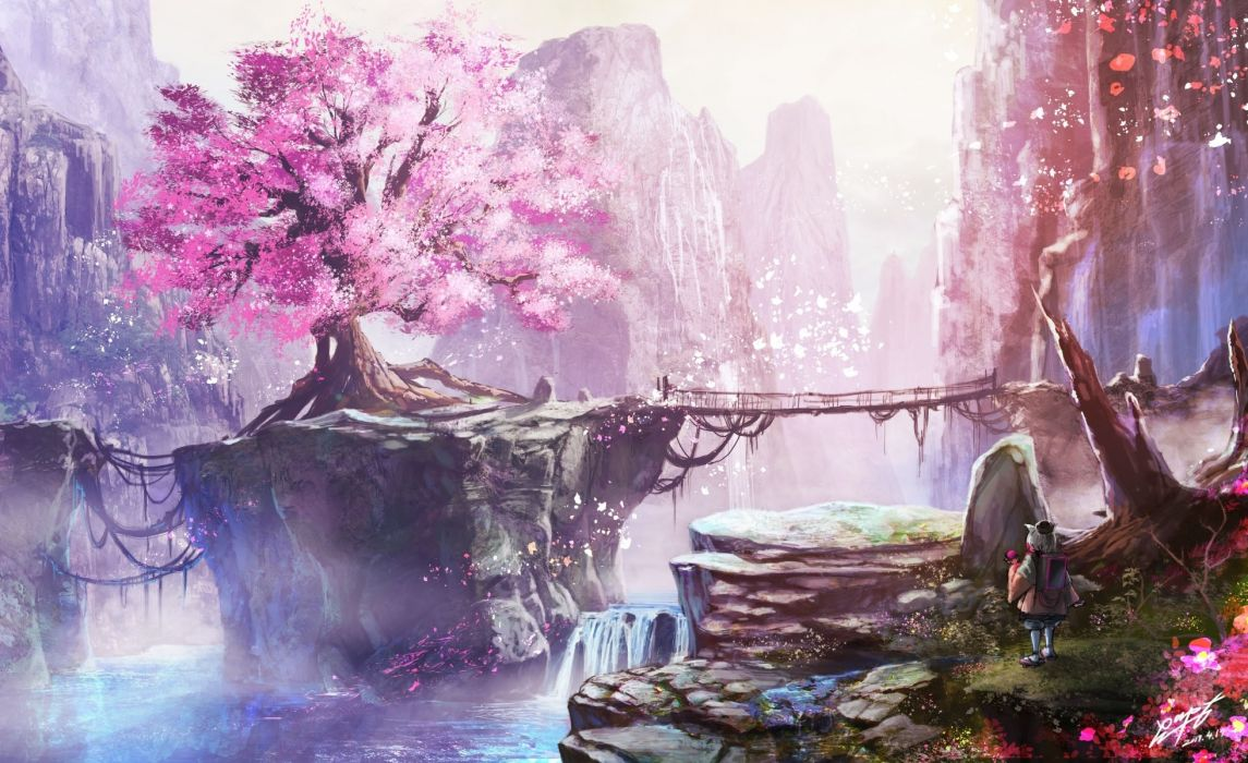 Anime Landscape Cherry Blossom Bridge Waterfall Anime Girl Nature wallpaper