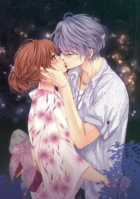 anime Udajo Mangaka Brains Base Studio Idea Factory Studio Brothers Conflict Series Visual Novel Ema Hinata Character couple kiss love kimono girl boy wallpaper