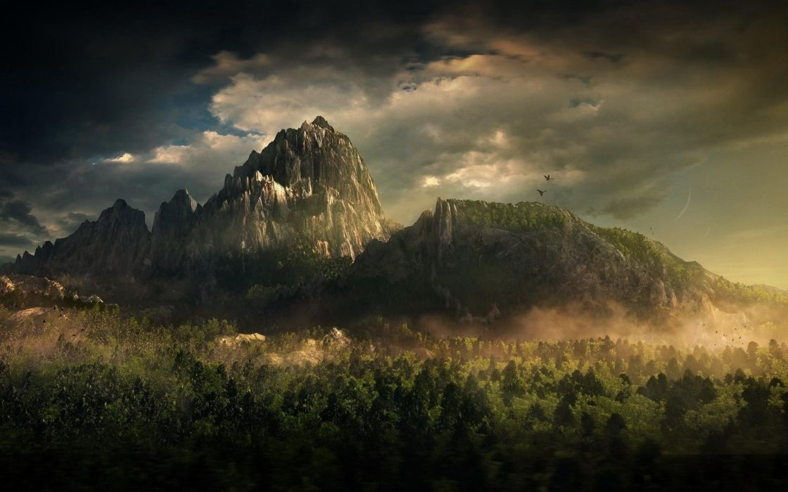 art nature forest clouds photoshop fantasy mountain wallpaper