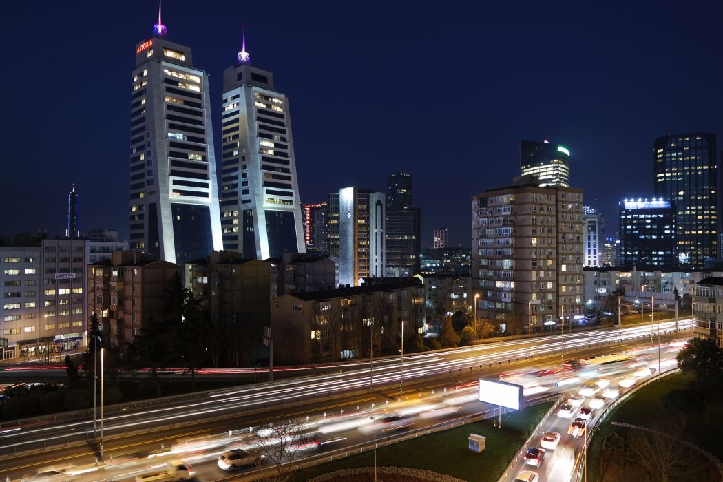 architecture buildings cars city cityscape high-rises highway lights long-exposure motorway turkey istanbul night traffic transportation urban vehicles BurakKebapci wallpaper