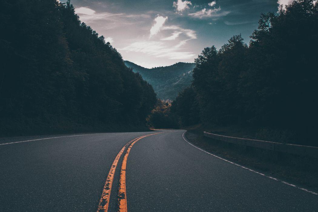 asphalt clouds foggy hazy idyllic misty mountain murky road scenic sky trees woods wallpaper