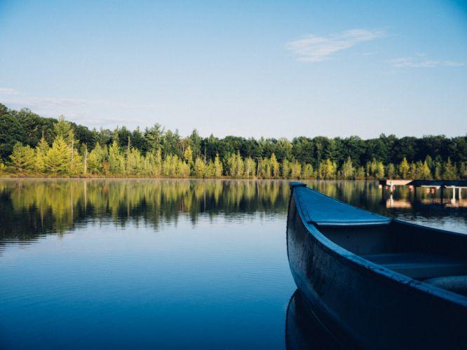 boat lake river trees water wallpaper