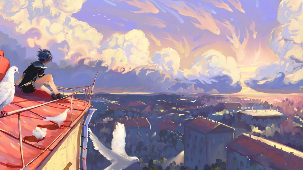 Anime Landscape Anime Girl Birds Sky Cityscape Buildings Painting Clouds Wallpaper 4500x2531 1090428 Wallpaperup