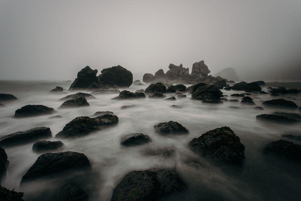 beach black-and-white foggy mist nature ocean rocks sea seascape seashore water wallpaper