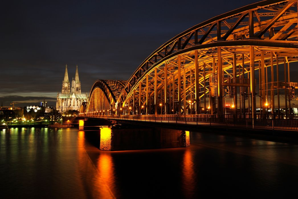 architecture bridge city cityscape cologne cologne cathedral germany hohenzollern bridge landmark lights night reflection river urban water wallpaper