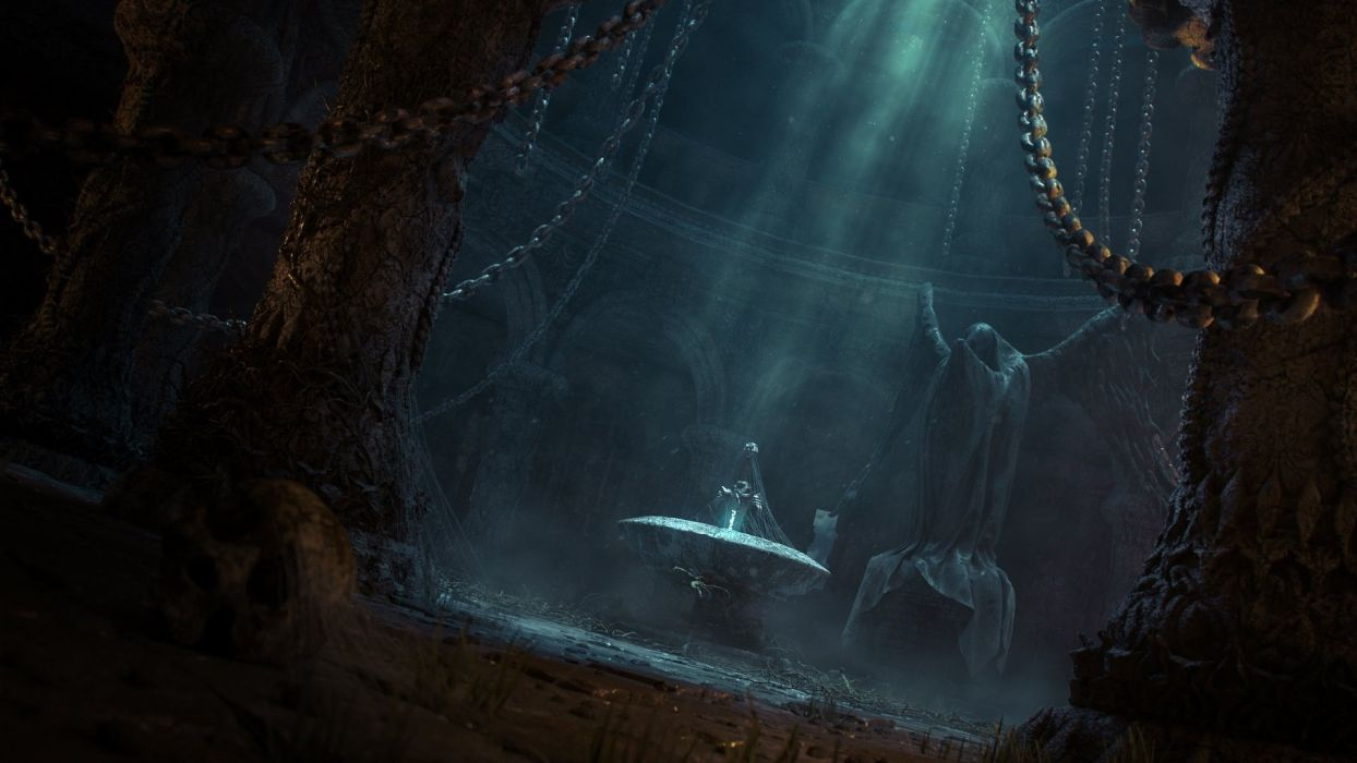 art fantasy temple darkly sword statue chains light abandonment wallpaper