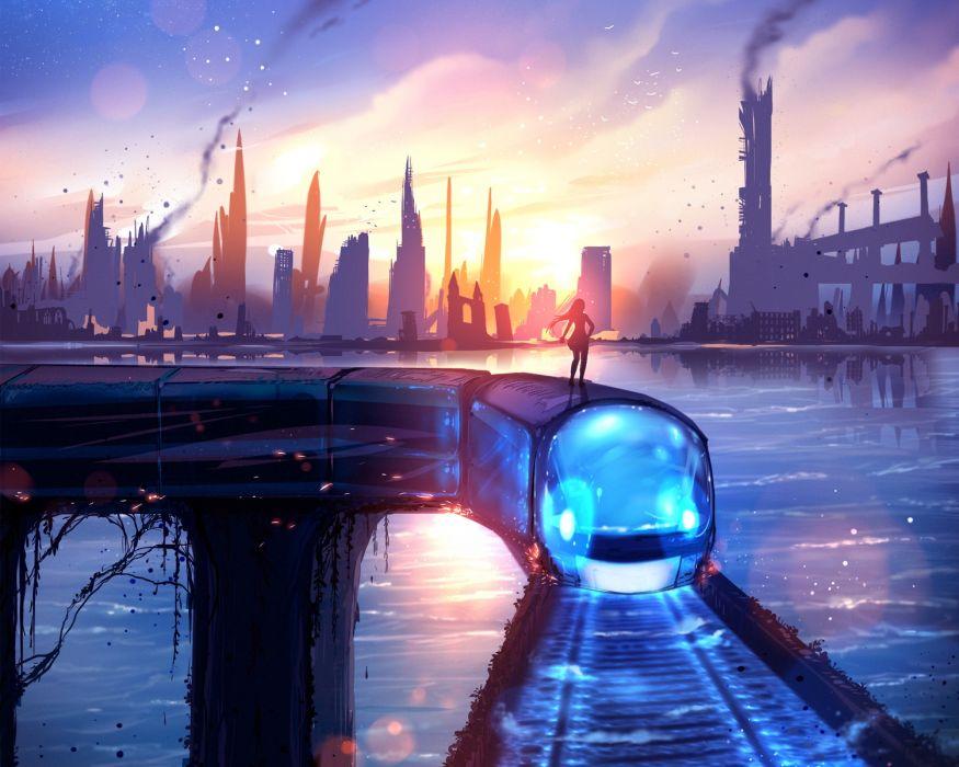 Anime Landscape Sci-fi Skyscrapers Train Artwork Clouds wallpaper