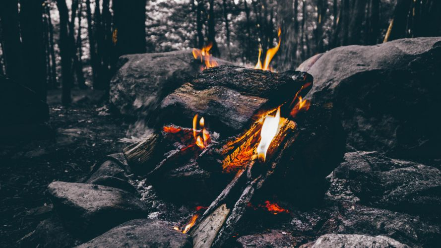 ash burning campfire fire firewood flame forest outdoors rocks trees woods wallpaper