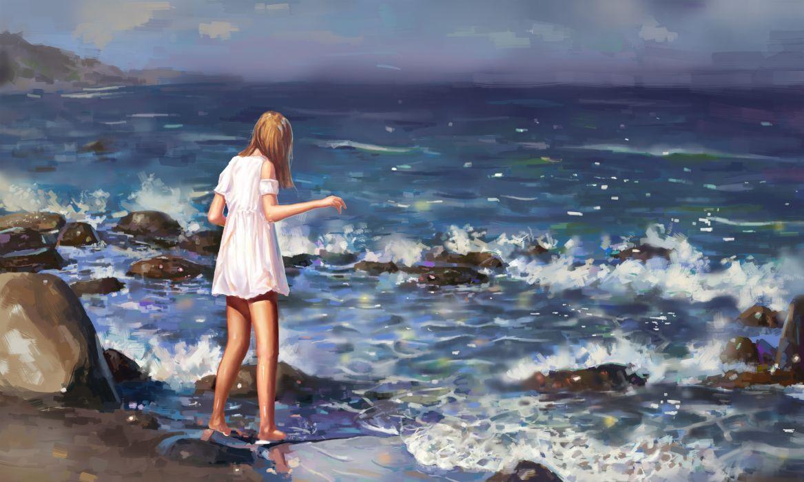 Anime girl semi realistic waves sea painting summer dress rocks wallpaper |  5000x3000 | 1090449 | WallpaperUP