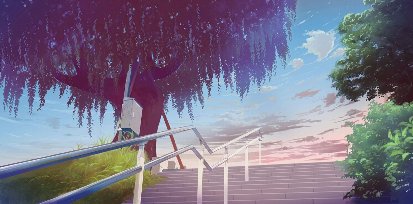 Anime Landscape Stairs Tree Clouds Sky Plants wallpaper