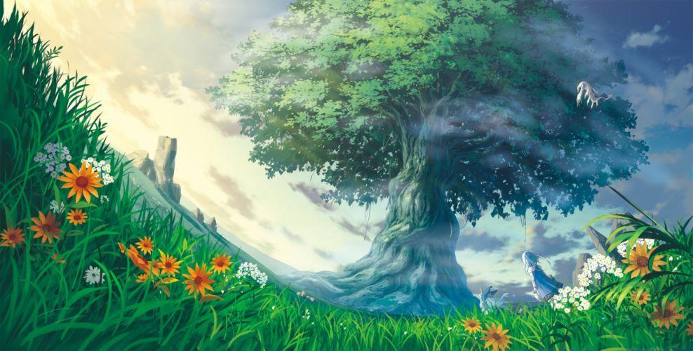 Anime Landscape Anime Girl Tree Flowers Grass Worm View wallpaper