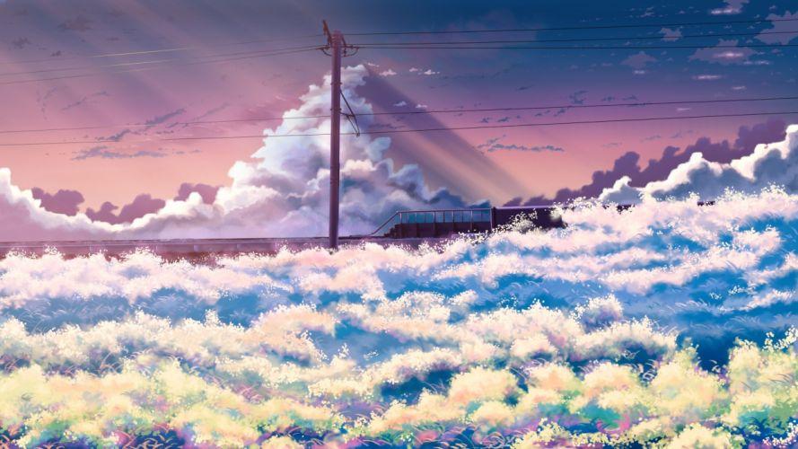 Anime Landscape Flowers Field Clouds Sky wallpaper
