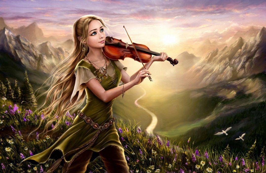 art fantasy girl violin nature dawn river mountain hill flower birds wallpaper