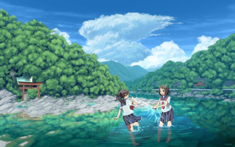 Anime Landscape River Girls Shrine Forest Trees Clouds wallpaper