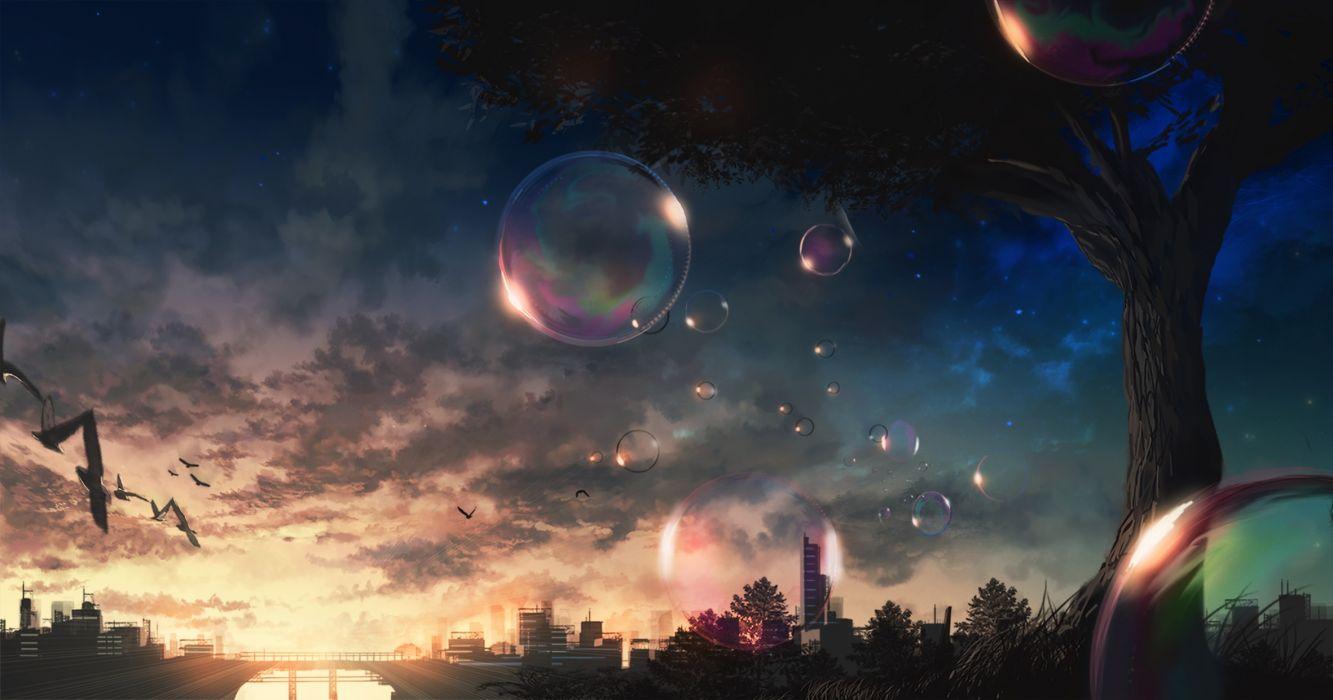 Anime Landscape Tree Sky Clouds Evening Birds wallpaper