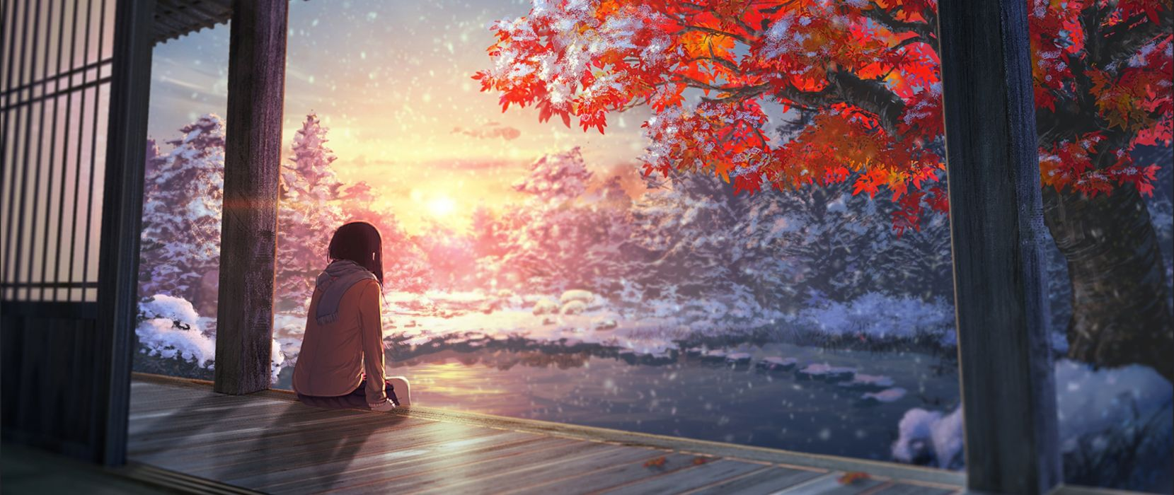 Anime Landscape Tree Y Girl Cute Long Hair Wallpaper