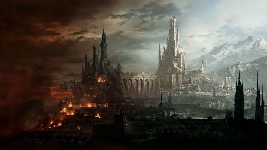art town castle fantasy light mountain destruction lightning fire bridge wallpaper