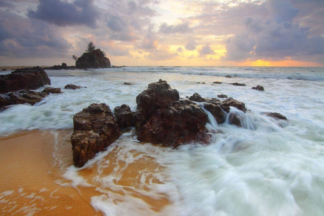 beach dawn dusk evening island landscape nature ocean outdoors rock sand sea seafoam seascape seashore shore sky sun sunset surf travel water waves wallpaper