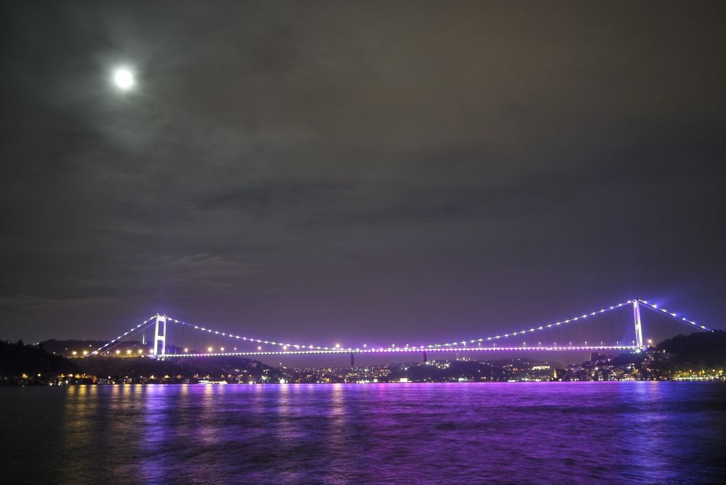 bridge city cityscape illuminated lights moon night sea suspension bridge turkey istanbul BurakKebapci wallpaper