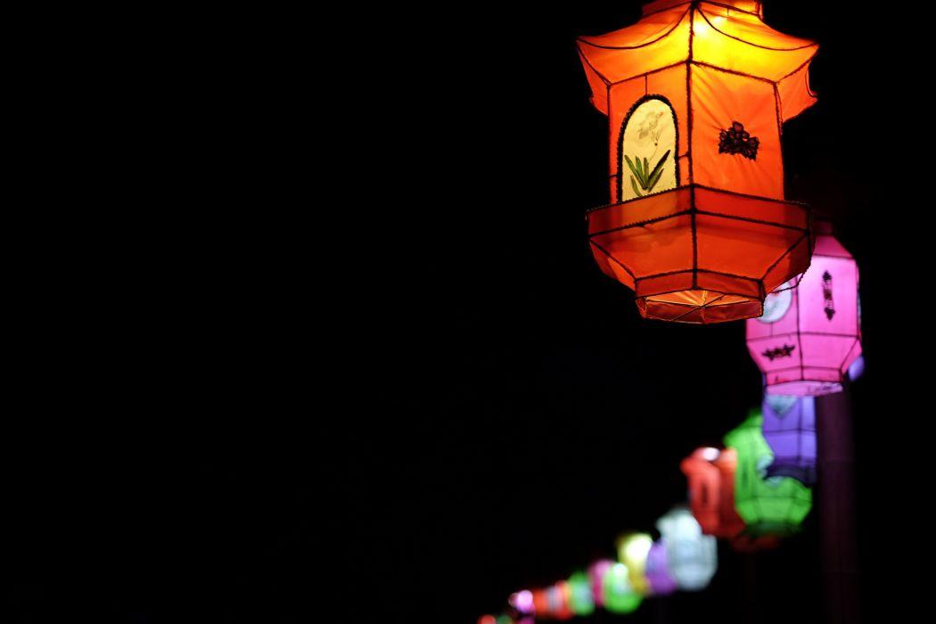 Chinese chinese lanterns lampion lamps lanterns light night street lamps wallpaper