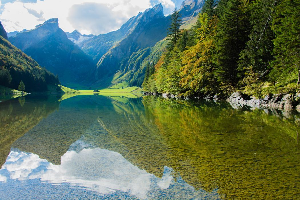 clouds cloudy daylight environment forest hill idyllic lake landscape mountain mountains nature outdoors placid reflection river rock scenic sky snow summer travel tree trees valley water wood woods wallpaper