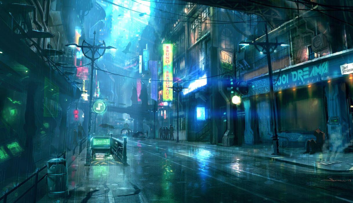 Cyberpunk Futuristic City Raining Street Lights People Sci
