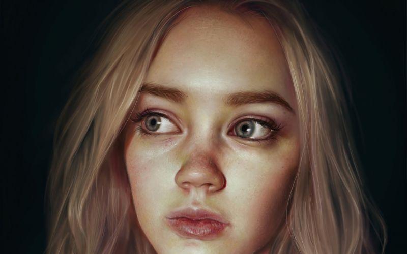 Digital Art Women Face Blonde Realistic Blue Eyes Artwork Painting wallpaper