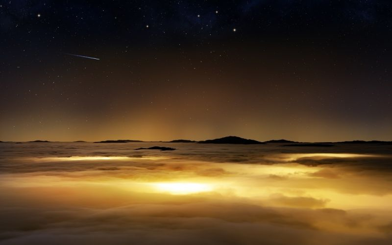 Falling Star Sky Clouds wallpaper