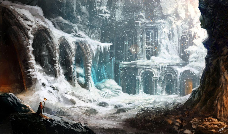 Fantasy Landscape Magician Snow Building Concept Art wallpaper