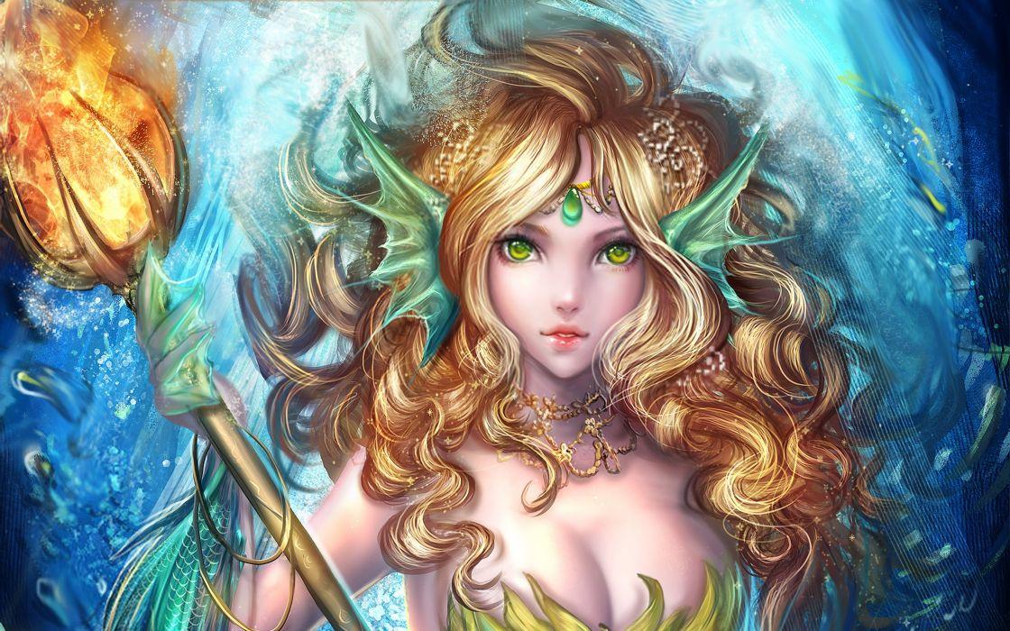 Fantasy Girl Mermaid Staff Blonde Necklace wallpaper