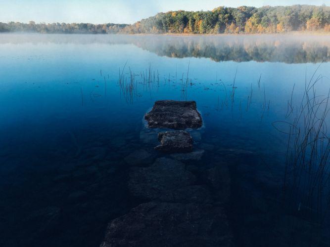 fog lake landscape mist nature reflection river rocks trees water wallpaper