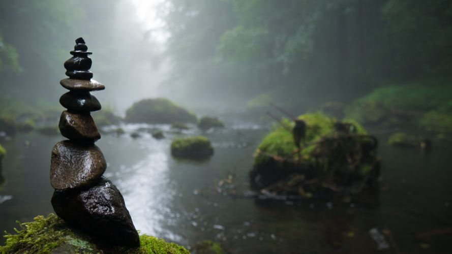 fog foggy forest landscape moss nature outdoors river rock balancing rocks stones trees water public domain images wallpaper