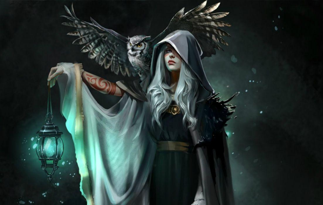 Fantasy Women Hood Owl Lantern Tattoo White Hair Cape wallpaper