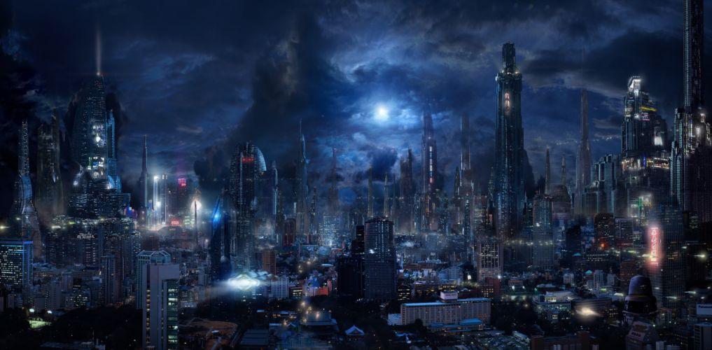 Futuristic City Sci-fi Skyscrapers Night Dark City Flying Vehicles wallpaper