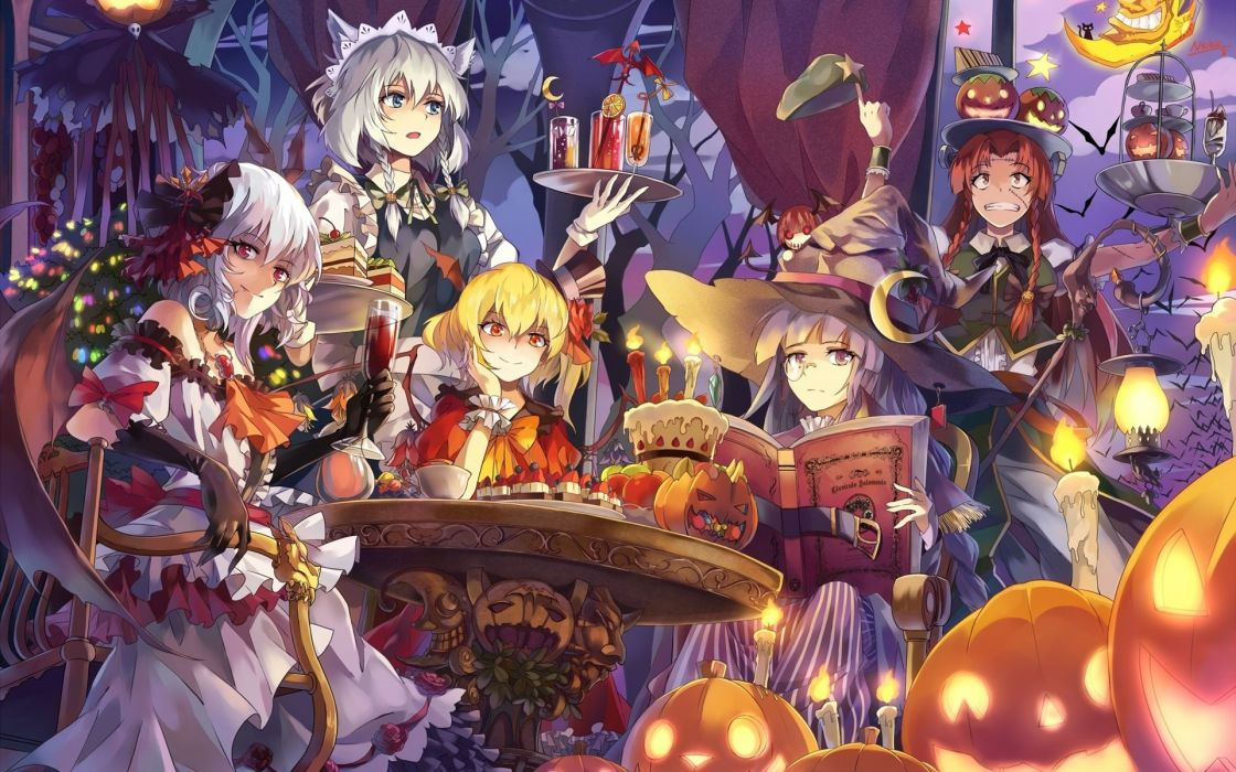 beautiful anime girls halloween wallpaper
